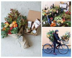 FLOWER POWER | Clockwise from left: A seasonal arrangement wrapped in Farmgirl's trademarked burlap; the...
