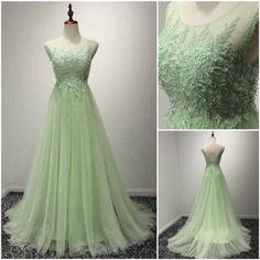 Custom made-to-order formal dress by GemGrace. Multiple colors and all sizes available. Additional photos also available upon request. Princess Mint Green Scoop Neck Lace Chiffon Prom Dress 2016, Homecoming Dress 2016, Bridesmaid Dress 2016.