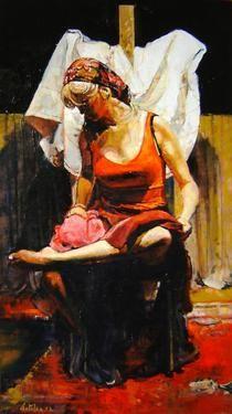 """Saatchi Online Artist Marco Ortolan; Unknown, """"Gitana Aseando sus pies"""" #art"""