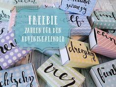 Ein Freebie zum Advent: Handlettering Adventskalenderzahlen in schönen Pastellfarben passend für Streichholzschachteln - Idee für einen Adventskalender