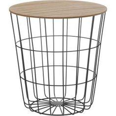 Stolik metal drewno kosz stołek SCANDI 42cm czarny
