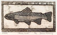 Fish Art Print Original Collograph of Game Fish by bonniemurrayart, $25.00