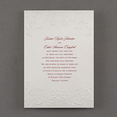 Embossed Beauty - Invitation. Available at Persnickety Invitation Studio.