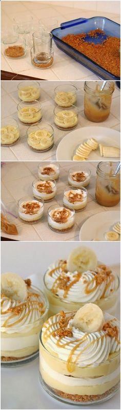 Ricette originali in una foto: banoffle monoporzione senza cottura (dolce facile con banane)