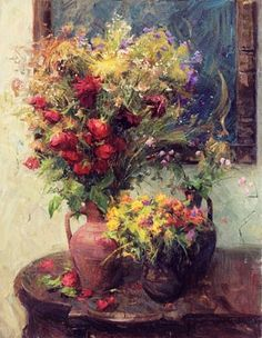 By Alexander Kosnichev, Contemporary Russian artist Paintings I Love, Beautiful Paintings, Oil Paintings, Art Floral, Art Amour, Art Et Illustration, Still Life Art, Russian Art, Fantastic Art