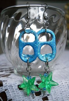 Original, Handmade Tab Earrings made with Glitter Glue and Acrylic Beads (French Hook Wire)