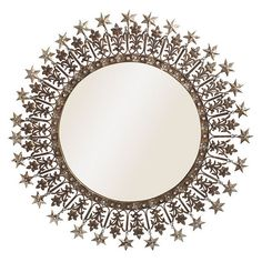 Starflowered Mirror (370 SAR) ❤ liked on Polyvore featuring home, home decor, mirrors, circle, frames and circle mirror