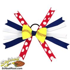 Softball Hair Bow - Blue Red Polka Dot Softball players will stand out when they sport this hair bow Ribbon Colors, Blue Ribbon, Softball Hair Bows, Softball Stuff, Pixie Cut Round Face, Softball Hairstyles, Different Font Styles, Rose Boutonniere, Making Hair Bows