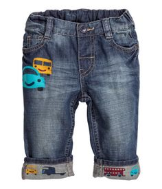 jeans in washed denim. Adjustable elasticized waistband, fly with snap fastener, and printed design at front and on cuffs. Denim Jeans Men, Boys Jeans, Denim Man, Cute Outfits For Kids, Boy Outfits, Baby Boy Fashion, Kids Fashion, Kids Pants, Kids Wear