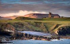 Mullaghmore, Co Sligo looking towards Classiebawn Castle with Benbulben in the background as the sun was rising and lighting the Mountains