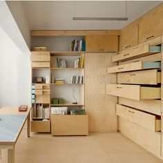 10 most popular interiors on Dezeen in 2014 Space saving modular studio for an artist by Raanan Stern Tiny Apartments, Tiny Spaces, Plywood Interior, Interior Architecture, Interior Design, Space Saving Storage, Space Saving Furniture, Design Furniture, Small Space Living