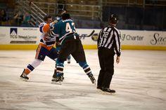 Worcester Sharks enforcer Jimmy Bonneau scraps w/Blair Riley of the Bridgeport Sound Tigers (April 2, 2013).