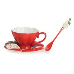 """Venice"" peony design sculptured porcelain cup/saucer/spoon set"