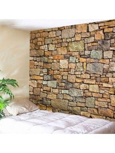 Wall decor ideas for living room creative for Natural Stone Brick Print Wall Hanging Tapestry Style: Vintage Material: Polyester Feature: Removable,Washable Shape/Pattern: Print Cheap Wall Tapestries, Tapestry Wall Hanging, Wall Hangings, Hanging Fabric, Hanging Art, Tapestry Bedroom, Bedroom Wall, Blanket On Wall, Wall Blankets