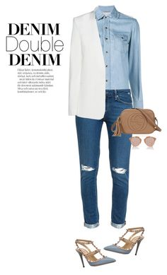 """""""double down denim"""" by lisamichele-cdxci ❤ liked on Polyvore featuring DKNY, Yves Saint Laurent, Paige Denim, Christian Dior, Gucci and Valentino"""
