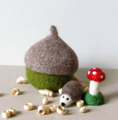 Felted acorn hedgehog and toadstool - Organic eco-friendly - waldorf toy play set - season woodland table by theYarnKitchen on Etsy https://www.etsy.com/listing/130650785/felted-acorn-hedgehog-and-toadstool