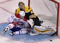 Boston, MA 1-17-18: Montreal's Jonathan Drouin tries to slip the puck by Bruins goalie Tuukka Rask from in tight, th puck stayed out of the net, but Drouin did not, second period action. The Boston Bruins hosted the Montreal Canadiens in an NHL regular season hockey game at the TD Garden. (Jim Davis/Globe Staff)