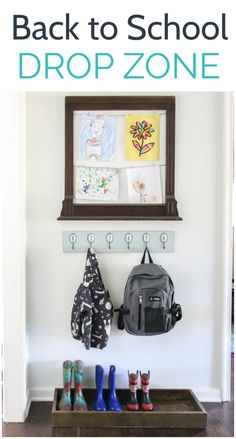 Create a back to school drop zone in a small entryway or other small space with space to organize shoes, jackets, backpacks, and kids artwork. Start this school year on top of things! Small Space Organization, Bag Organization, Organizing Ideas, Small Entryways, Drop Zone, Kids Artwork, Built In Bookcase, Entryway Decor, Entryway Ideas