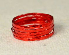 Super Thin Red Silver Stackable Ring(s) Red Ring Stack Rings Red Stacking Rings Red Jewelry Thin Red Ring Red band by Alaridesign Silver Stacking Rings, Stackable Rings, Silver Rings, Antique Engagement Rings, Rose Gold Engagement Ring, Measure Ring Size, Blue Geode, Red Rings, Red Jewelry