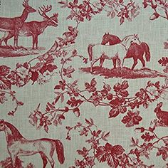 Amazon.com: 100% Linen Fabric Equestrian Horse Print 'The Noble Horse' in Traditional Toile De Jouy Style - Rich Bordeaux Red on a Cream White Pure Linen Cloth - French Designer Fabric 55 Inches Wide ~ Sold By the Yard