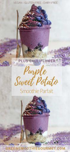 Pretty Purple Sweet Potato Parfait (a cauliflower + sweet potato smoothie)