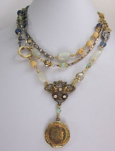 Triple Wrap Repurposed Antique Locket One of a Kind Necklace - jryendesigns