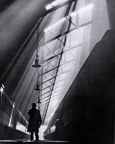 William M. Rittase - Light Rays on Trains, La Salle Street Station, Chicago, 1931 Street Photography, Art Photography, Light Rays, Gelatin Silver Print, Photo B, Chiaroscuro, Light And Shadow, Great Photos, Black And White Photography