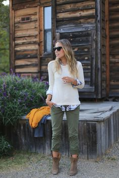 olive skinnies, booties, sweater