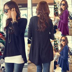 8db72a8ff01 euro 7 incl shipping 2013 New Autumn Women Round Neck fashion Loose  Asymmetric hem long sleeve Tunic T shirt Tops-in T-Shirts from Apparel    Accessories on ...