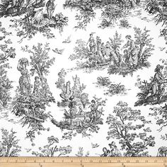 Premier Prints Colonial Toile Black/White from @fabricdotcom  Screen printed on cotton duck; this versatile medium weight fabric is perfect for window accents (draperies, valances, curtains and swags), accent pillows, duvet covers and upholstery. Create handbags, tote bags, aprons and more. *Use cold water and mild detergent (Woolite). Drying is NOT recommended - Air Dry Only - Do not Dry Clean. Colors include black and white.