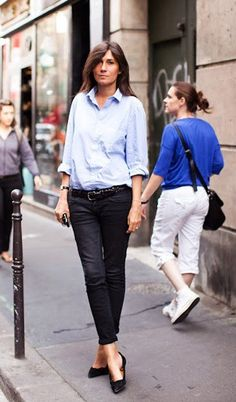 Classic blue shirt made fashionable!!