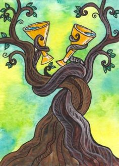 two of cups (Tarot of Trees)