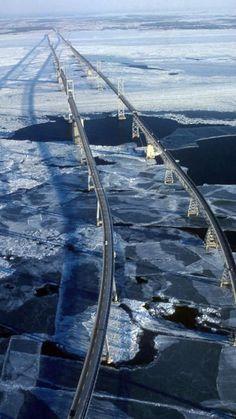 A frozen Chesapeake Bay