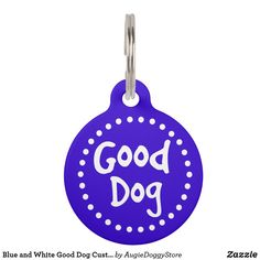 Shop Black and White Good Dog Custom Pet ID Tag created by AugieDoggyStore. Pet Name Tags, Pet Id Tags, Dog Texts, Royal Blue Background, Custom Pet Tags, Dogs Golden Retriever, Pet Names, Dog Bowtie, Tag Art