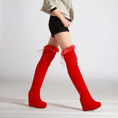 pb097 cutie over-the knee high wedge boots w rabbit hair trim, size 35 – kakas collection