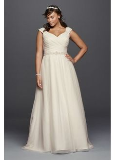 Tulle A-line Plus Size Wedding Dress with Sash 9WG3787