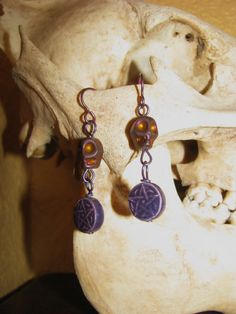 Purple Skull Pentacle Earrings by BeadToLive on Etsy, $18.00