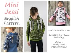 """Pattern """"Mini Jessi"""" (Size DE 80-164; UK/US 12 Month - 14)   'Mini Jessi' is a body – flattering long hoody which is body-hugging, but not too tightly fitting. You can sew it as a sweatshirt or..."""