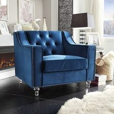 Chic Home Berry Velvet Modern Contemporary Button Tufted with Silver Nailhead Trim Round Acrylic Feet Club Chair, Navy Blue Tufted Chair, Velvet Armchair, Chair Cushions, Blue Tufted Sofa, Blue Armchair, Sofa Upholstery, Upholstered Chairs, Swivel Chair, Living Room Chairs