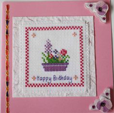 Cross stitch Flower basket happy birthday card #handmade #handcrafted