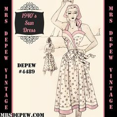 Vintage Sewing Pattern 1940's Ladies' Wrap Sun Dress