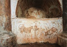 Rome (Italy), Catacombs di via Latina, Catacomba di Via Dino Compagni. Christ and the Samaritan Woman at the well. Wall painting, early Christian, c. 320/350. (1280×892) - http://romapedia.blogspot.ru/2014/02/hypogeum-of-via-dino-compagni.html