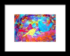 Framed Print - Decorative Birds D132016 Framed Print by Mas Art Studio.  #MasArtStudio #MarthaAnnSanchez #Marti #Decorative #Birds #Framed #Print #Mas #Art #Studio #Blue #Yellow #Pink #Red #Green #Orange #Purple #Black