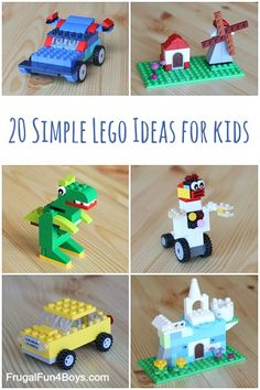 20 Simple Projects for Beginning LEGO Builders - Frugal Fun For Boys and Girls Here are 20 simple LEGO® projects that are perfect for beginning builders! One question that we ge Diy Crafts For Kids Easy, Arts And Crafts For Teens, Diy Projects For Kids, Winter Crafts For Kids, Lego Projects, Simple Projects, Kids Crafts, Project Ideas, Crafts Cheap