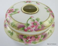 Vintage Porcelain Hair Receiver Hand Painted Pink Flowers
