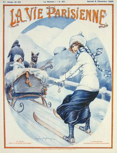 Vintage Winter Sports  illustration  for La Vie Parisienne, 1923, art by Maurice Milliere