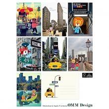 OMM Friends From New York Postkarten 7er-Set mit Umschlägen