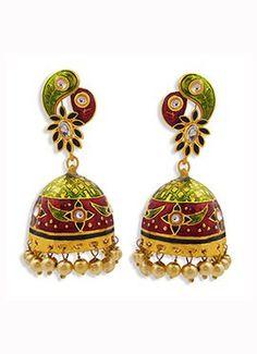 Tricolored Beads Jhumka Earrings