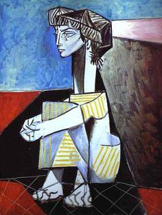 picasso:  portrait of the artist wife jacqueline kneeling