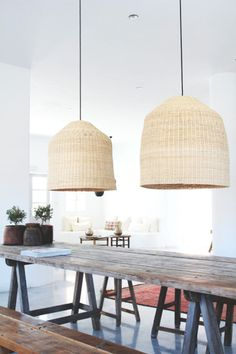 The best dining room lighting ideas are thoughtfully planned out; they take your actual eating habits, furniture proportions, and budget into consideration,good design. Wicker Pendant Light, Pendant Lights, Rattan Lamp, Room Lights, Hanging Lights, Nature Decor, Bohemian Decor, Living Spaces, Sweet Home